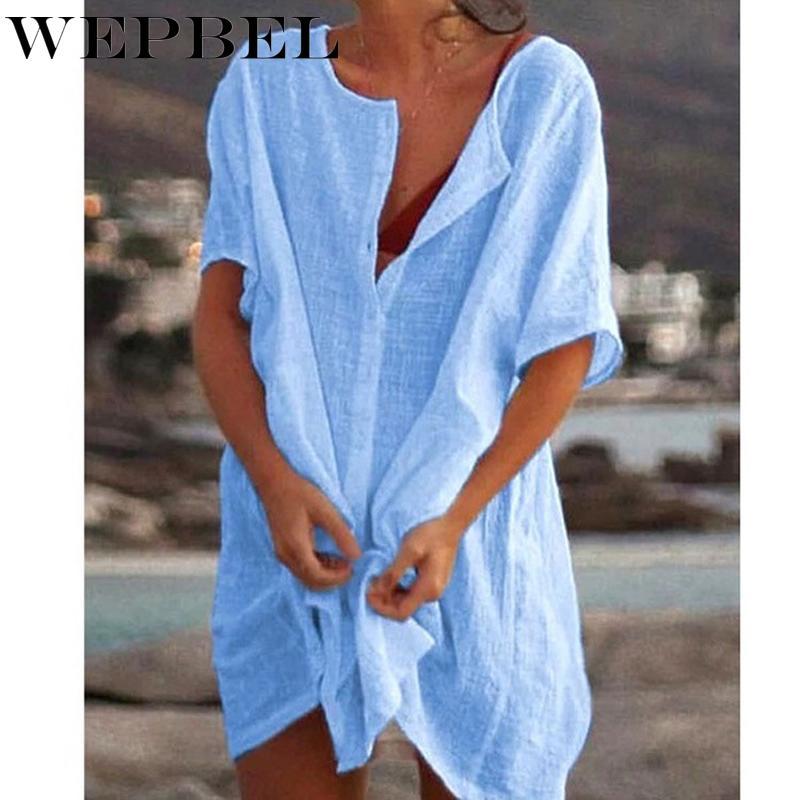 Gros-WEPBEL Femmes Mode d'été à manches courtes Blouses longues Casual vrac solide Couleur Taille Plus vêtements de plage Dissimulation Chemisier court Linge