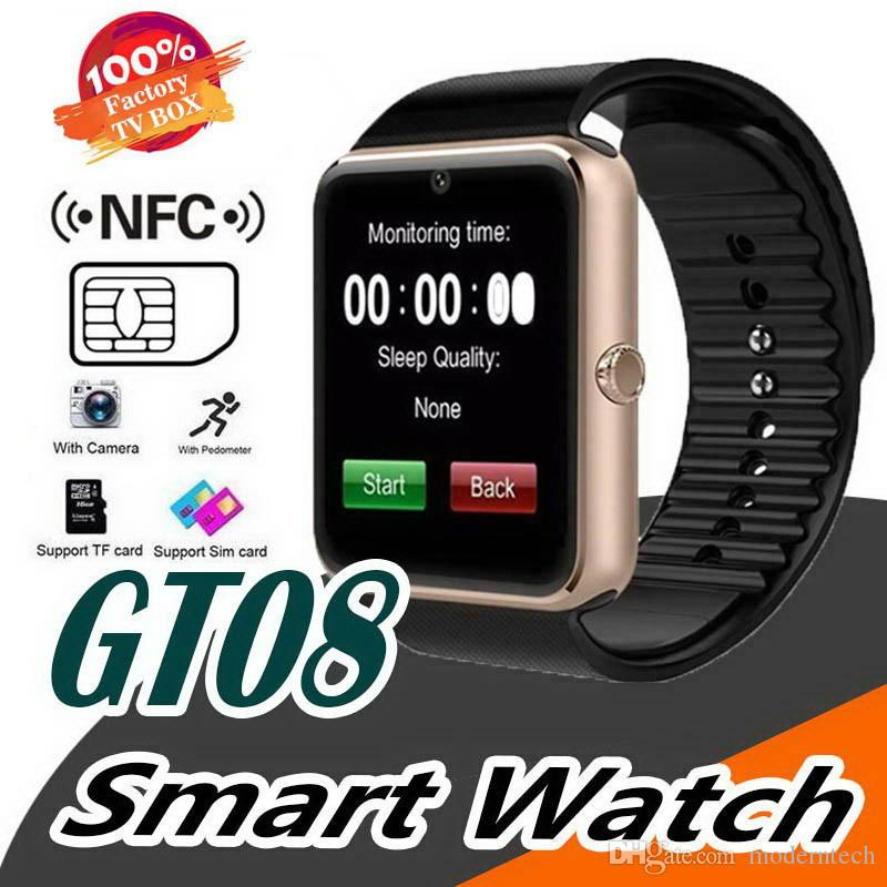 GT08 Smart Watch Mens Bluetooth Smartwatches For Android Smartphones SIM Card Slot NFC Health Watchs for Android with Retail Box