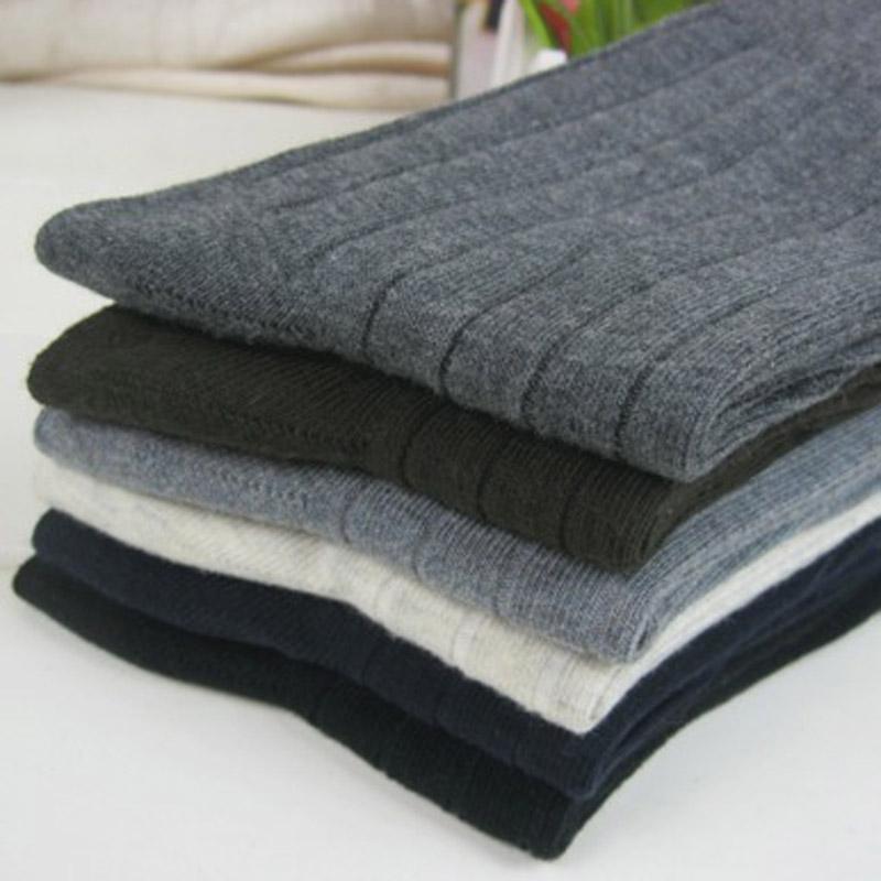 5 pares Otoño e invierno algodón hombres calcetines de negocios de doble aguja de bombeo calcetines de los hombres adultos