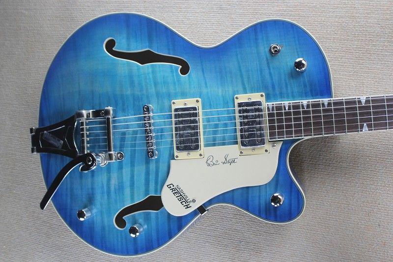 encargo al por mayor del patrón del tigre azul semi-hueco del jazz cuerpo de la guitarra eléctrica con un servicio personalizado