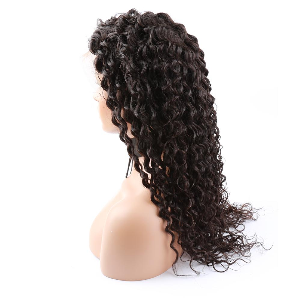 Greatremy® Full Lace Wigs Deep Curly Wave Long Virgin Human Hair Natural Hairline Thick Bleached Knots Lace Front Wig for Black Women