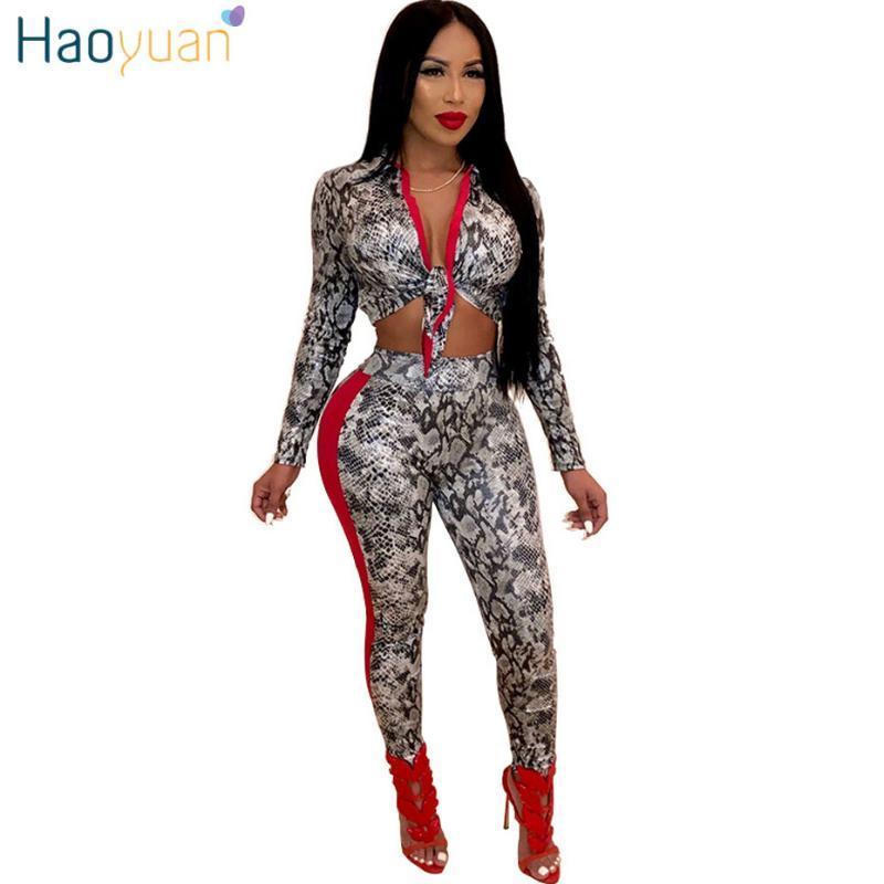 Haoyuan serpiente imprimir dos Parte superior del Crop Set ropa de las mujeres atractivo del club Trajes de manga larga y pantalones 2.020 nuevos conjuntos de 2 piezas a juego
