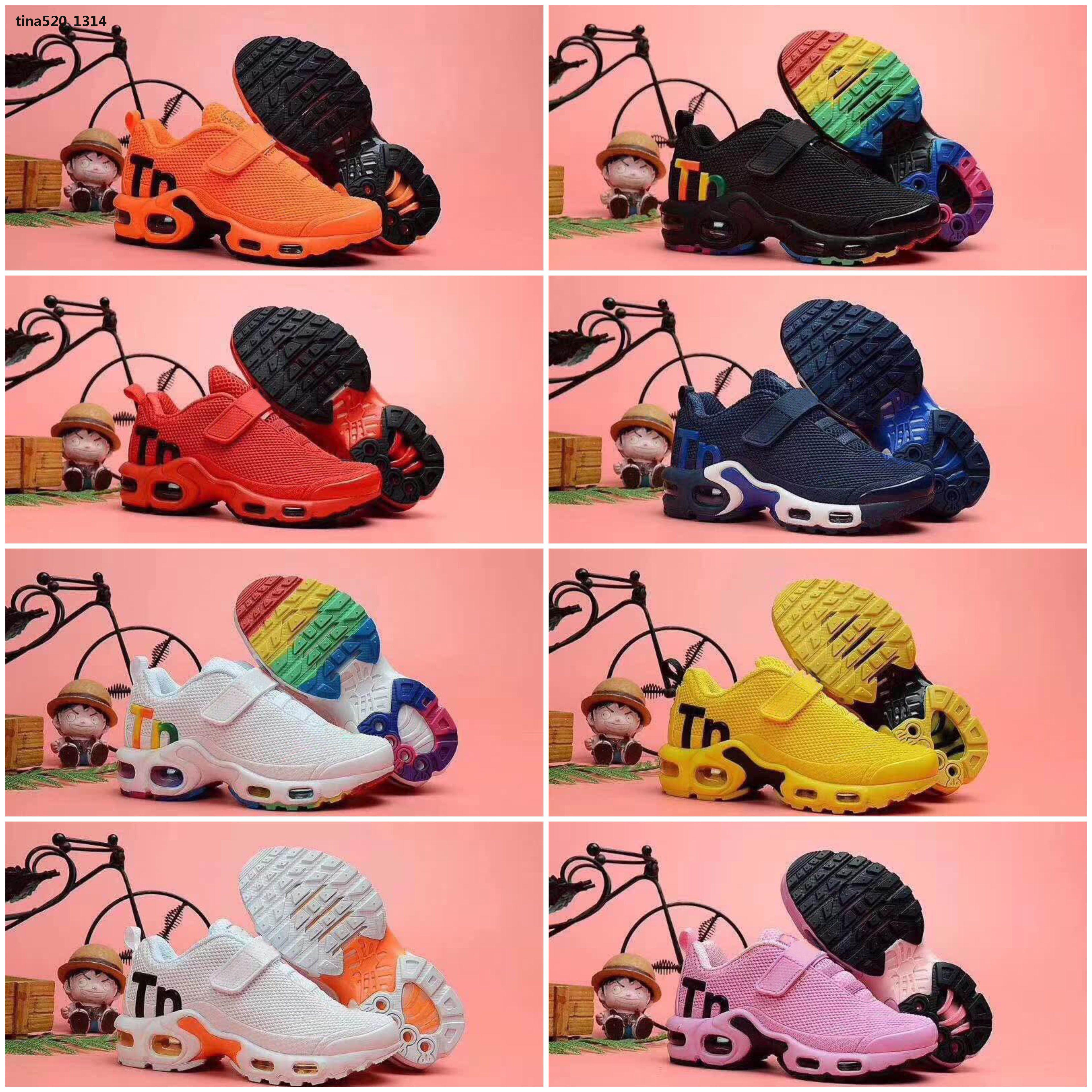 Mercurial Plus Tn Neue Kinder Junge Mädchen 19SS Schwarz Weiß Multi Hohe Qaulity Baby-Kind-Qualität Modedesigner Sports Ultra-TN Bowling-Schuhe 28-35