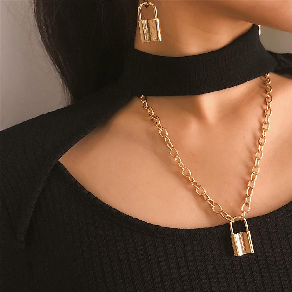 Punk Lock Pendant Lady Necklaces Cross Chain Gold And Silver Linked Together Simple Jewelry Long Necklace FJ166