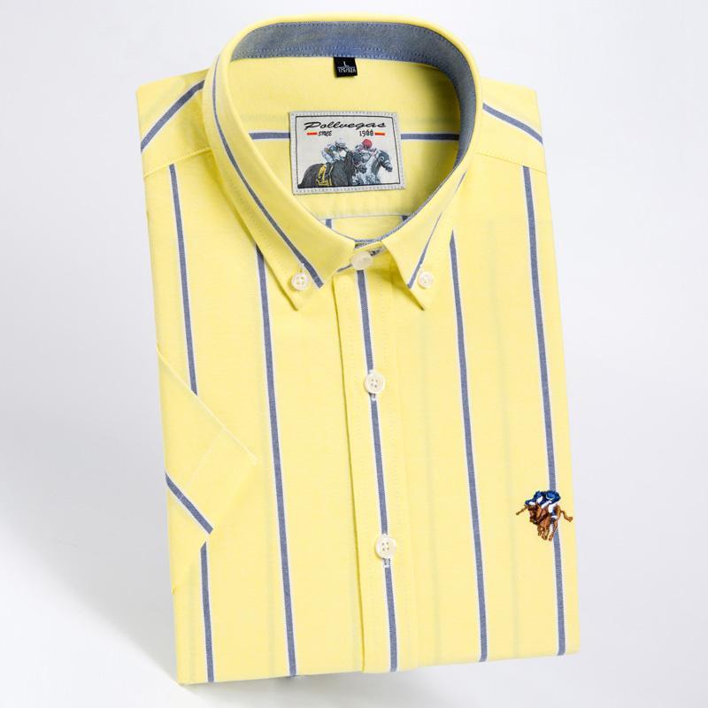 Haute Qualité Mode jaune 100% coton Stripe Twill Business Casual Oxford Chemise à manches courtes avec une couleur solide slim