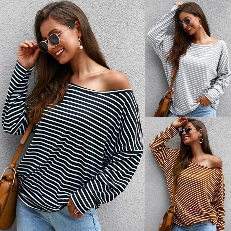 Maikun Brand New Mode Femme à manches longues T-shirt rayé en maille Tempérament Pull Top 3 couleurs 4 tailles