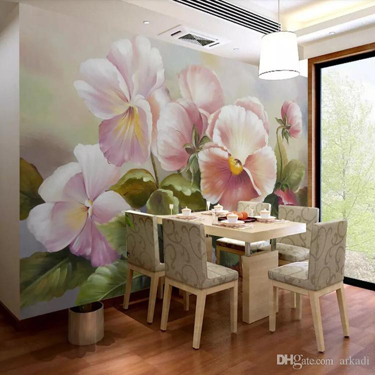 3 차원 거실 TV 배경 벽 유럽 복고 꽃 손으로 그린 유화 소파의 벽지 중국어 벽을 커버 벽지