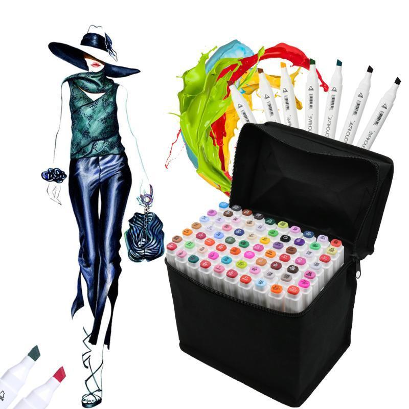 TOUCHFIVE 168 Renkler Sanat İşaretleyiciler Seti Çift Kafa Sketch Marker Kalem İçin Manga Tasarım Çizim Liner Sanat Kırtasiye