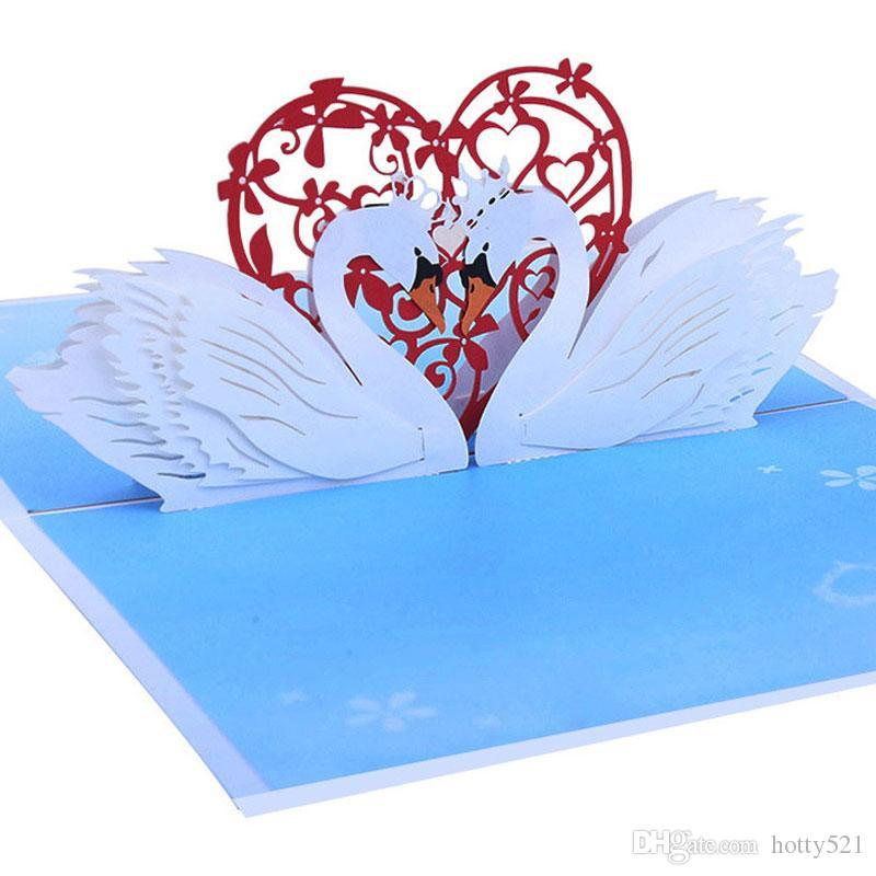 Изысканный шик лазерная резка свадебные приглашения ручной работы 3D Белый лебедь всплывающие поздравительные открытки на День Святого Валентина