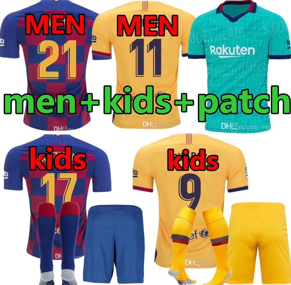 Men + crianças kit Barca Barcelona Jersey 2019 2020 meninos JUVENTUDE SUAREZ MALCOM PIQUE ARTHUR VIDAL casa longe 3ª Futebol