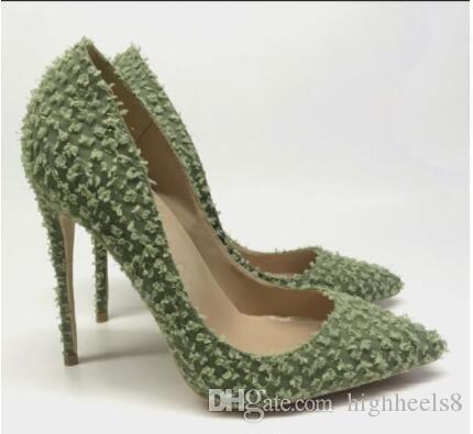 Весна и осень новый 10 см светло-зеленый кончик заостренные пальцы туфли на высоком каблуке для женщин обувь новая мода эластичная ткань высокие каблуки платье обувь
