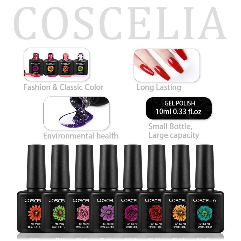 Conjuntos Moda COSCELIA 80PCS Set Para Gel Verniz 10ml Gel Nails poloneses para unhas Art Manicure Gel polonês para unhas
