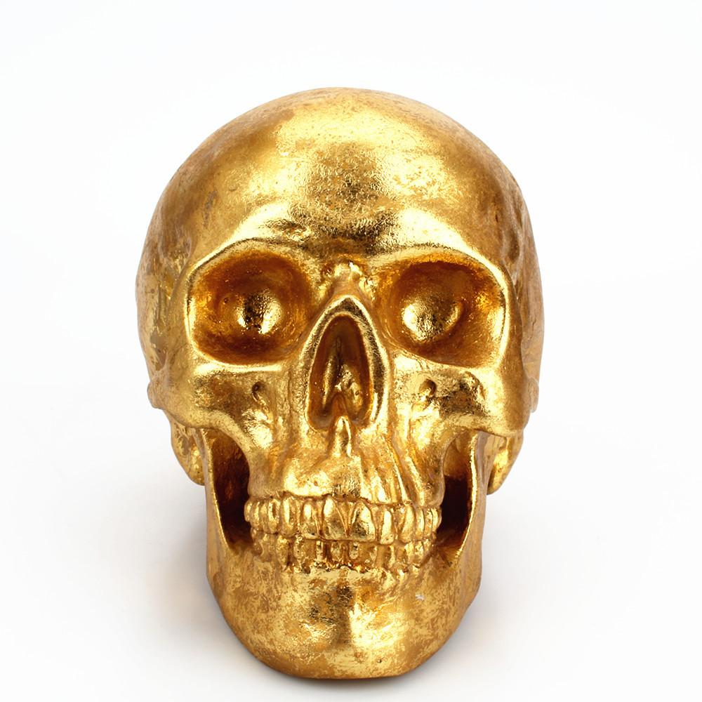 Hot Sale Golden Skull arts crafts y Resin Piggy Bank Creative Desktop Decoration Children Piggy Bank Halloween