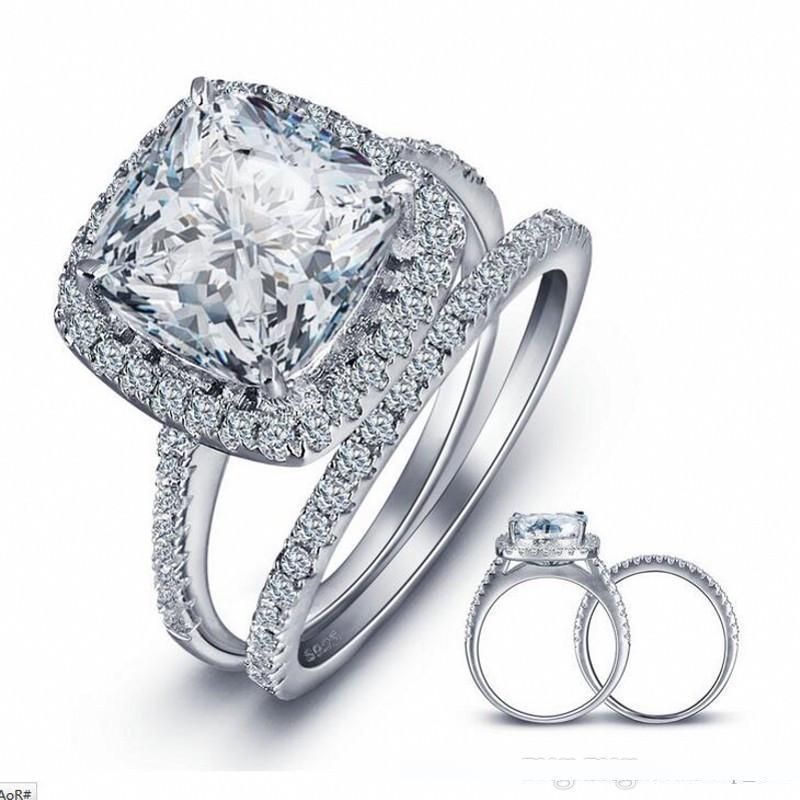 Pop alta USpecial GALAXY Marca 100% 925 Sterling Silver Ring Engagement 2-in-1 New Trendy Jóias 3 Carat CZ Diamant anéis de casamento para as mulheres