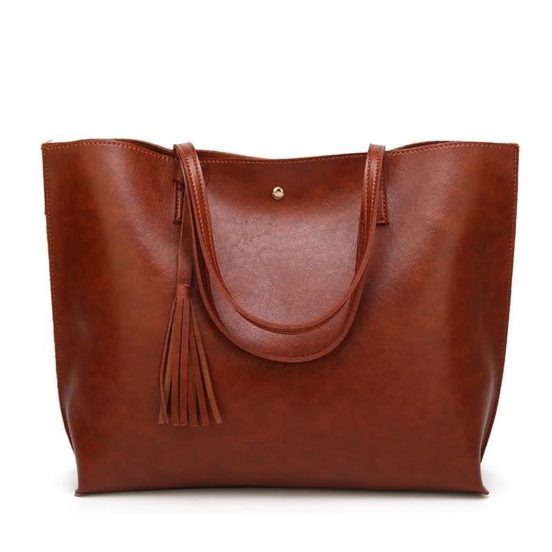 2020 New Style WOMEN'S Bag Large Bag Europe And America-Style Tassels Shoulder Handbag Women's Large PU Leather Totes