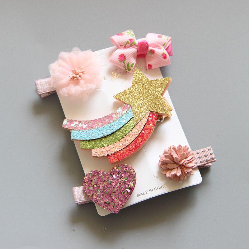 5PCS 귀여운 스팽글 헤어핀 레인보우 유니콘 아기 소녀 꽃 헤어핀 아이 귀여운 만화 헤드 클램프 머리핀 헤어 액세서리