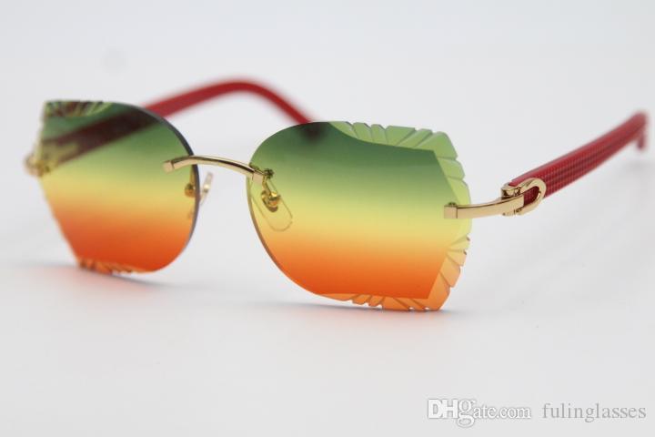 Großhandel geschnitzte Linse Gläser 8200762A Randlose rote Aztec Sonnenbrille Unisex Optische Plankengläser Hohe Qualität Frauen Gläser