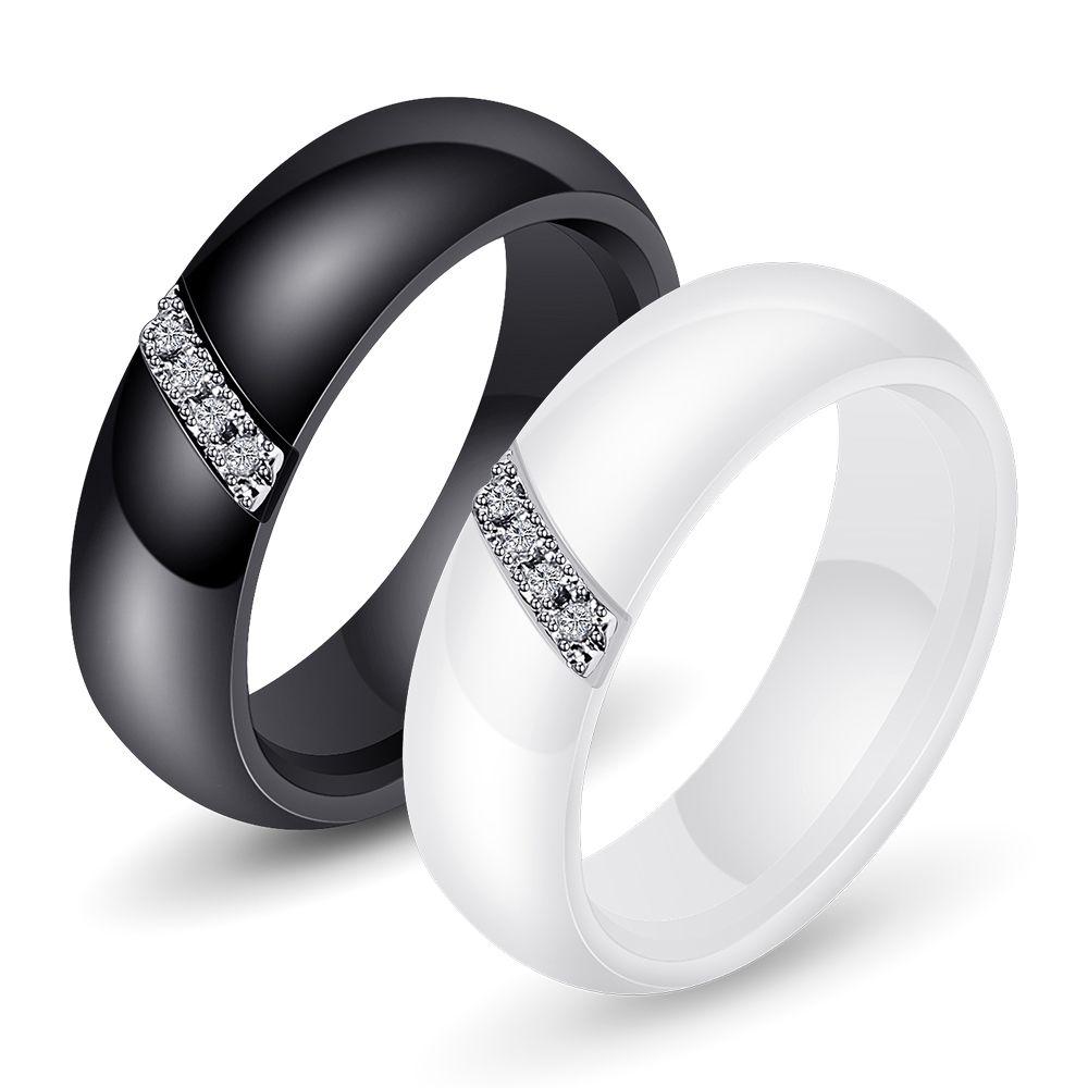 패션 화이트 블랙 세라믹 반지 여성 부드러운 표면 상감 지르콘 여성 반지 스테인레스 스틸 결혼식 약혼 선물