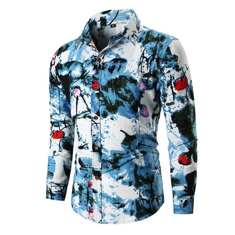 잉크 회화 인쇄 남성 블라우스 중국 예술 스타일 블루 셔츠 남자 캐주얼 블라우스 클래식 레트로 신사 긴 소매 셔츠 탑