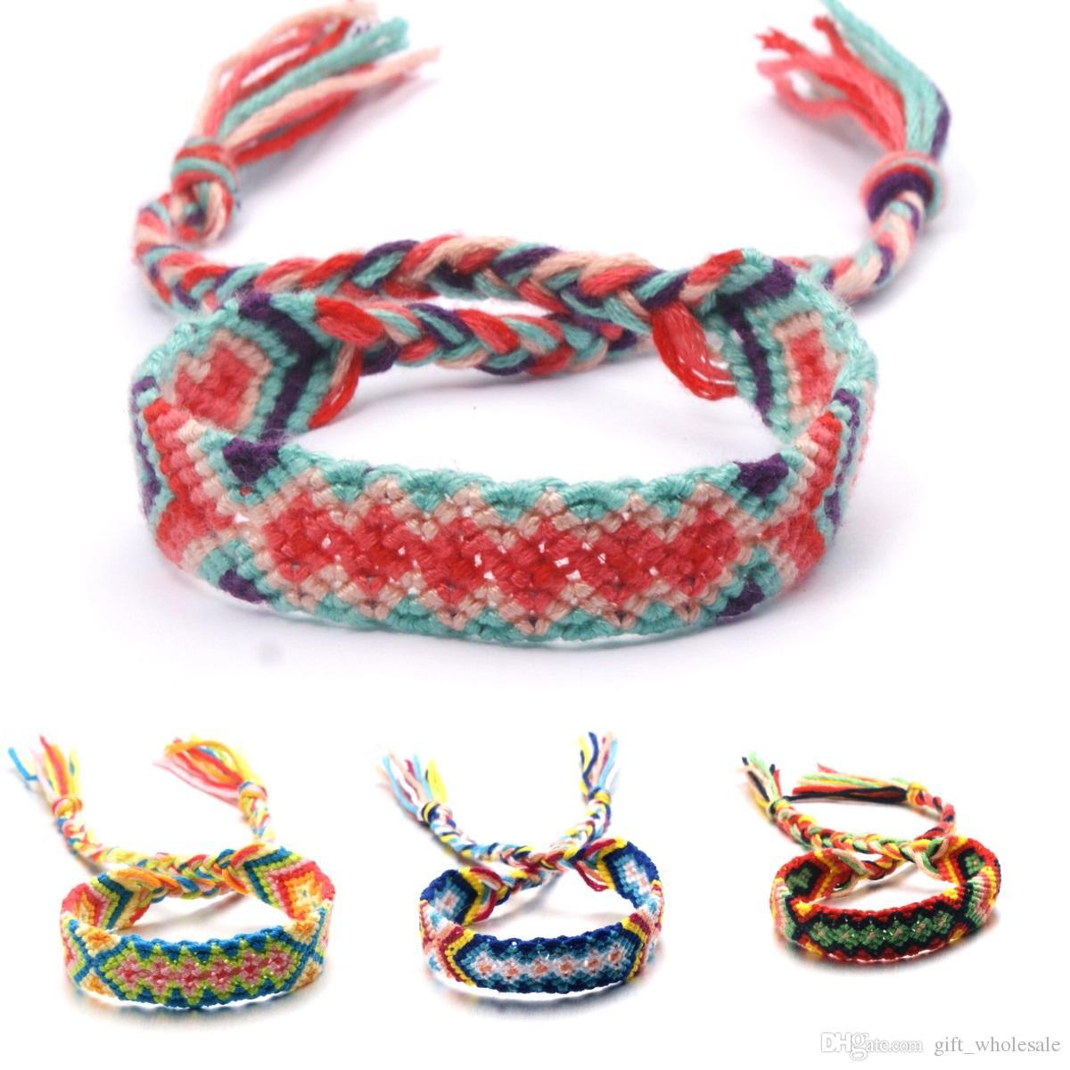 2 Paquete de pulseras de la amistad Cuerdas Hecho a Mano Trenzado de hilos