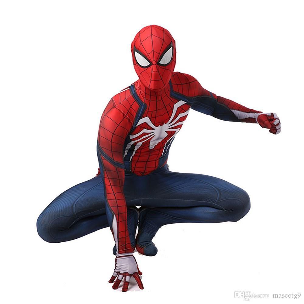 New ps4 insomniac spiderman traje Spandex Jogos Spidey Cosplay Halloween Homem Aranha Trajes Para Adulto Frete Grátis