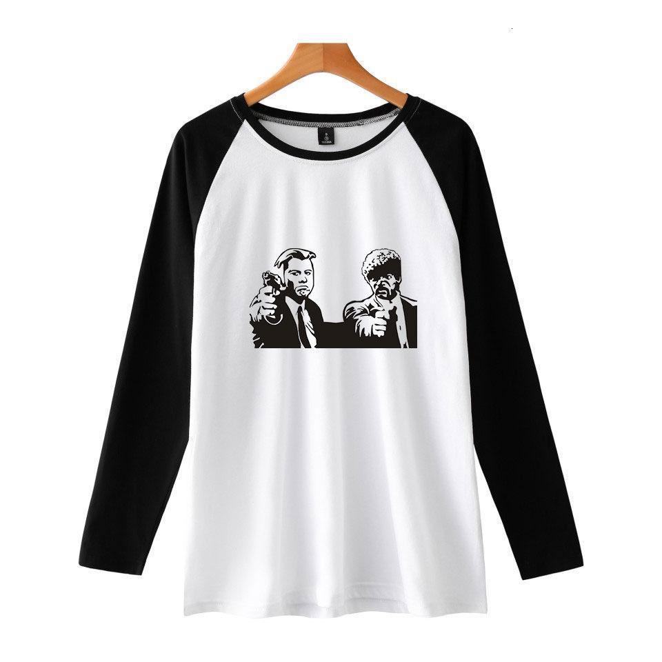 Novel Vulgar Trend Pulp Fiction Insert Shoulder Long Sleeves Shirt Men And Women T Shirts