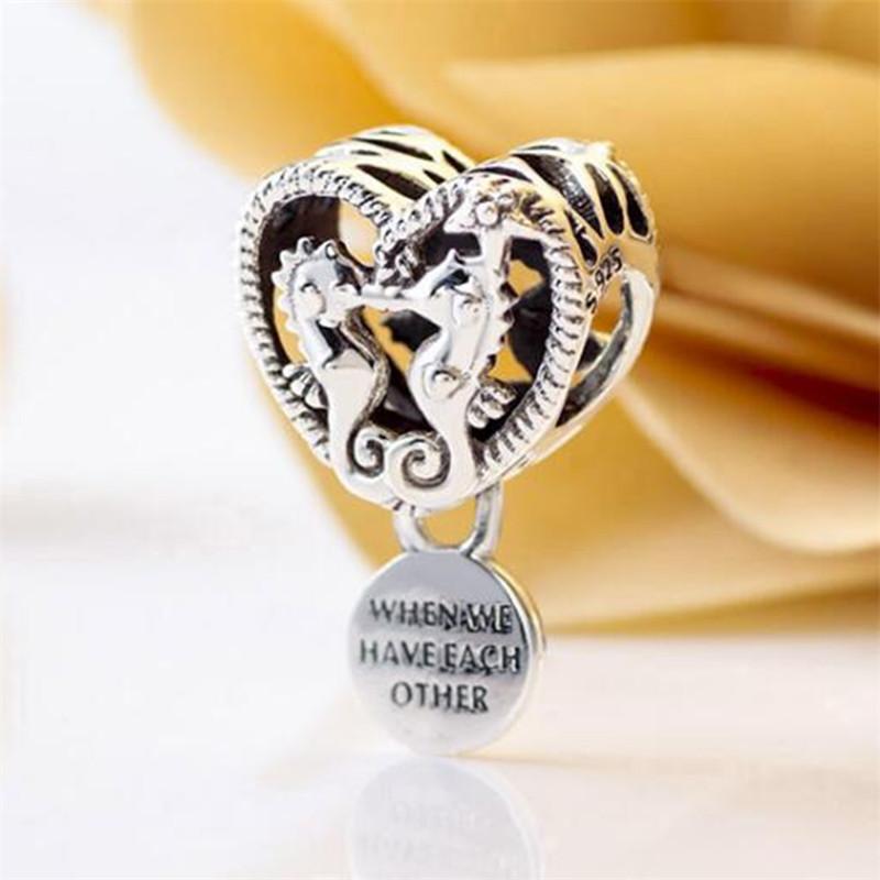 2020 estate fai da te borda liberamente argento 925 Openwork Cavallucci marini Cuore Charm Fits europea Pandora Jewelry Bracciali Collane Ciondolo