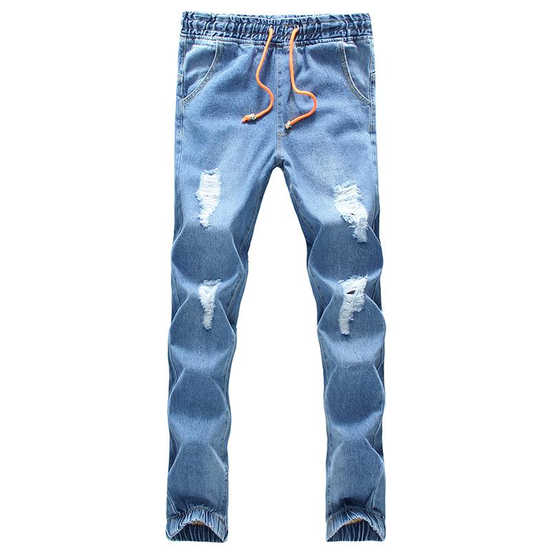 2018 spring summer hole jeans denim jogger pants ankle length pants loose trousers light blue ripped jeans drawstring S-5XL