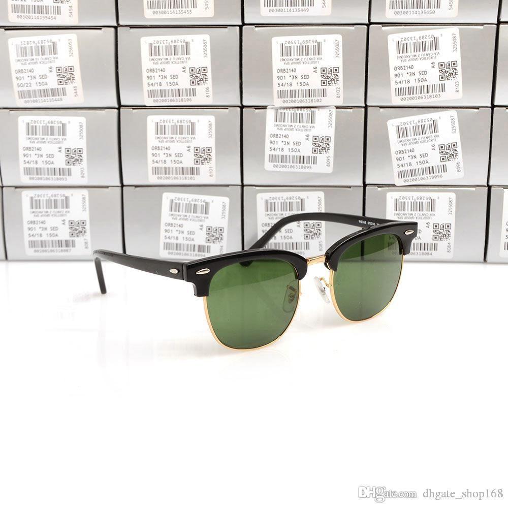 Plank caliente gafas de sol de marco negro gafas de sol gafas de sol lentes de las bisagras de metal verde del club del Mens gafas de sol para mujer Marca vidrios vienen con Boxs