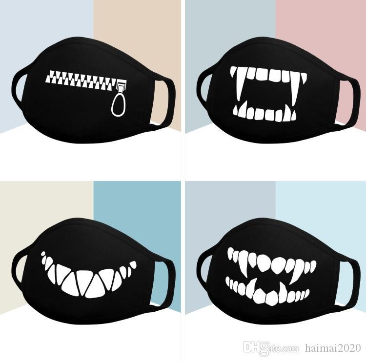 Pamuk Toz Maskesi Siyah Karikatür İfade Dişler Kül Yüz Maskesi Karşıtı Kpop Ayı Ağız Pamuk Yarım Yüz Koruma Bisiklet Maske