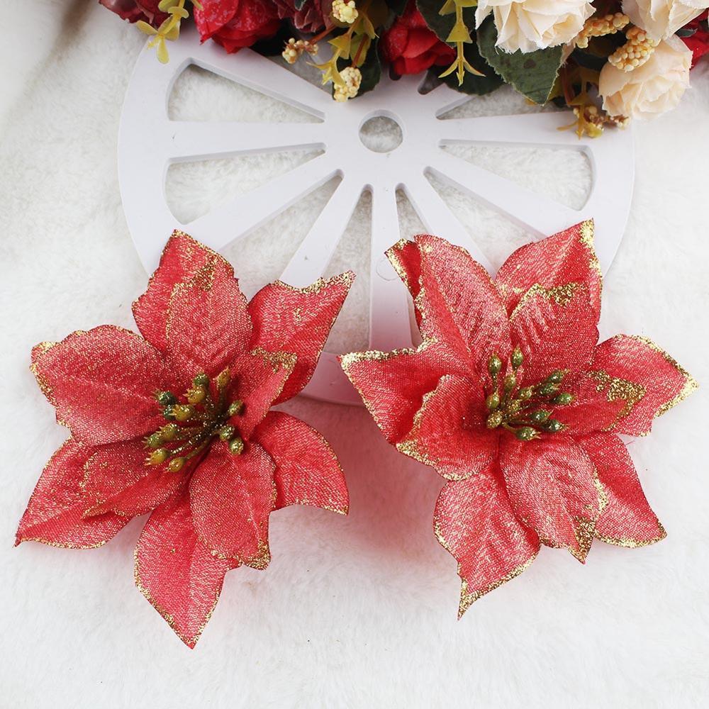 OurWarm 10pcs árvore de Natal Flor de Natal de Santa Artificial Hanging enfeites de decoração de Ano Novo Decor Festa Flor