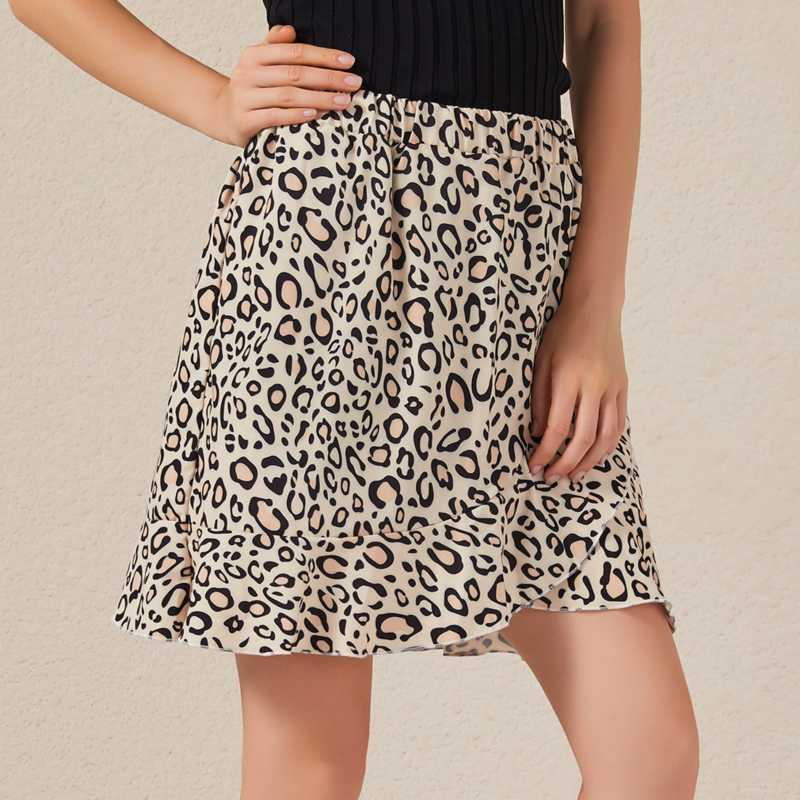 Skirts 2021 Summer Women Beach Ruffles Skirt Mini Irregular Floral Printed Lotus Short Casual Bohemian Fashion High Waist