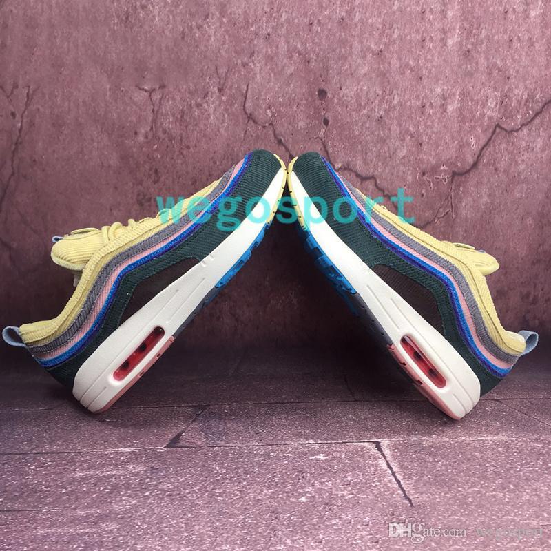 La mayoría de 97OG Sean Wotherspoon para mujer para hombre Zapatos populares extra conjunto de encaje Sólo azufre Vivid multi Amarillo Azul Top zapatillas de deporte corrientes con la caja
