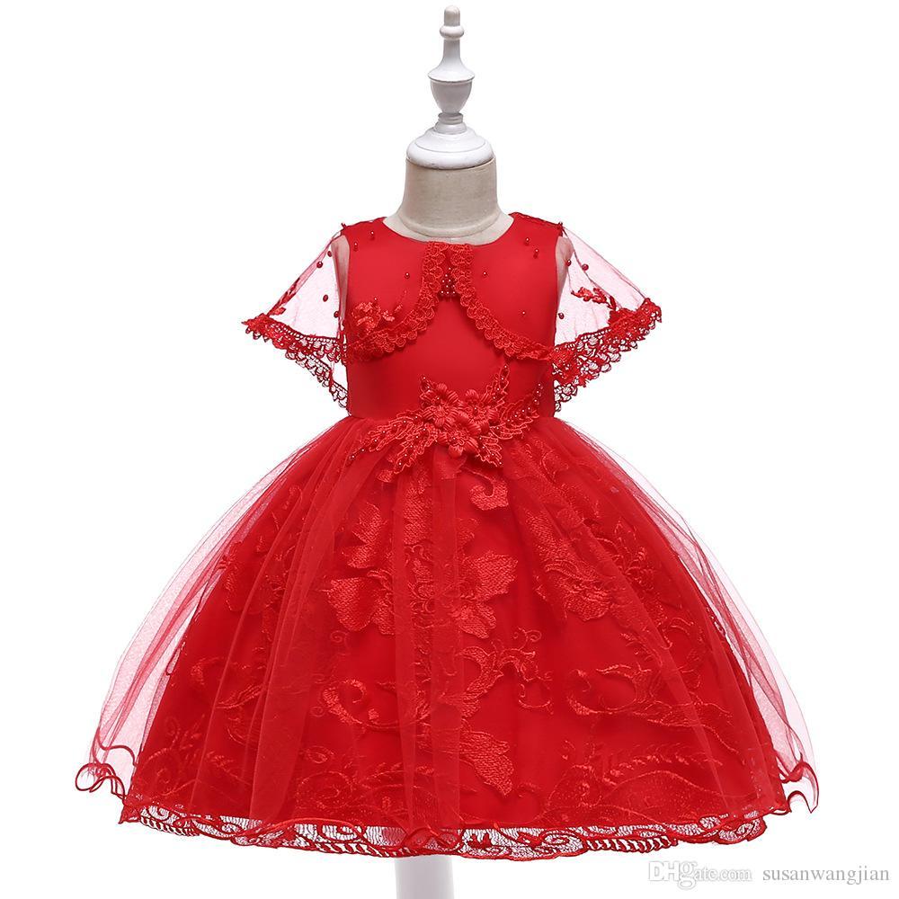 Chicas Pretty Red White Green Pink Boda de Navidad Princesa Vestidos de fiesta Diseño para ocasiones especiales Vestidos largos en línea