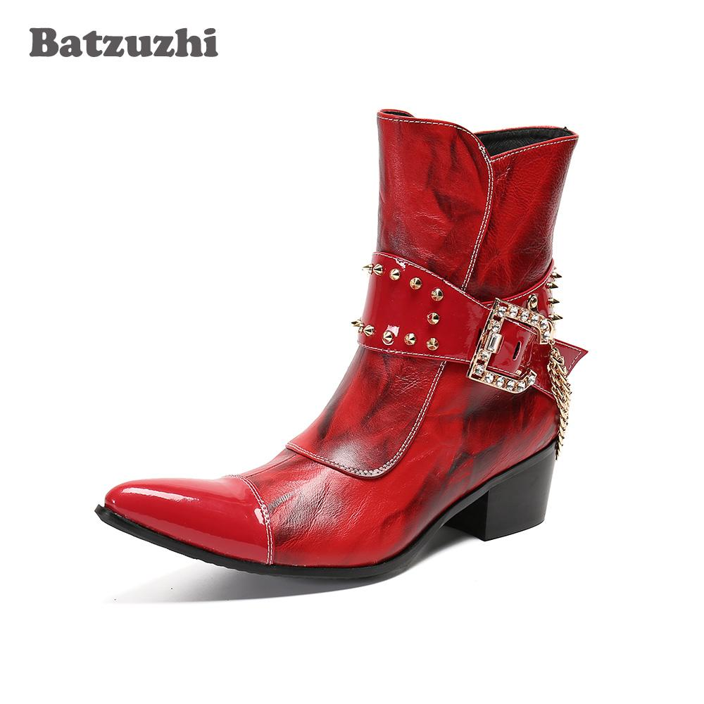 Batzuzhi Western Cowboy Boots Punk Genuine Leather Ankle Boots for Men's Party and Wedding Red Punk Botas Hombre,Big Sizes US12
