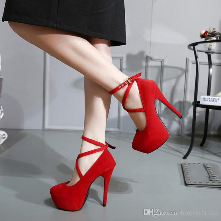 Spring Summer Fashion Sexy Red Wedding Shoes Thin High Heels Hot Women Pumps Sandals EU 35-42