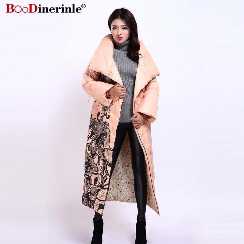 Womens Winter Long Jacket Elegant Print 90% White Duck Down Coat Women Down Coats Jackets Warm Woman Parka Female YR159-1