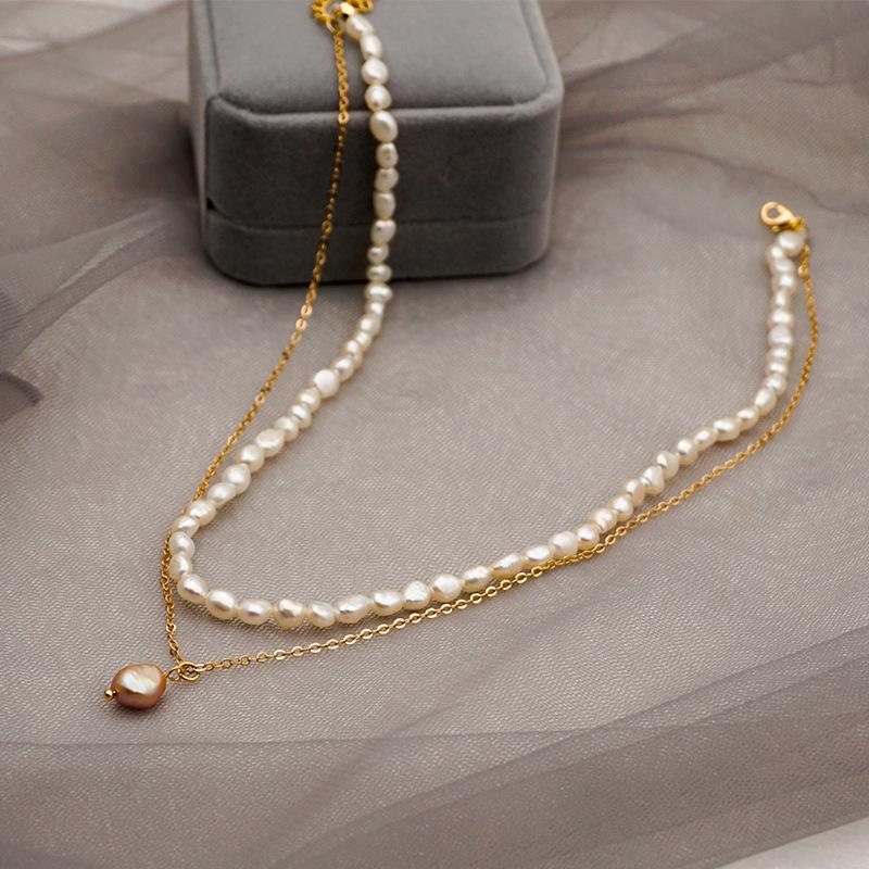 High end simple fashion design multi-layer handmade natural freshwater pearl vintage pendant necklace for women
