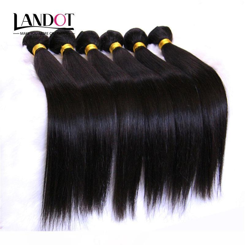 Unprocessed 8A Peruvian Malaysian Indian Brazilian Straight Virgin Remy Human Hair Weave Extensions 10 Bundles (1KG) Natural Black Color
