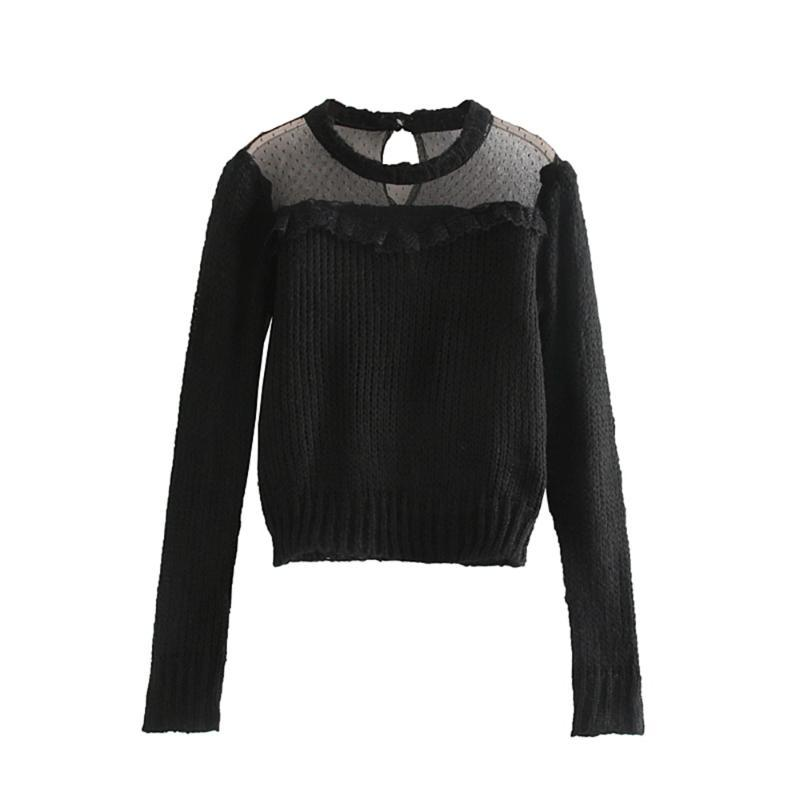 Осенние женские новые кружевные украшения сращивание свитер круглый вырез с длинным рукавом короткий свитер 05802106800