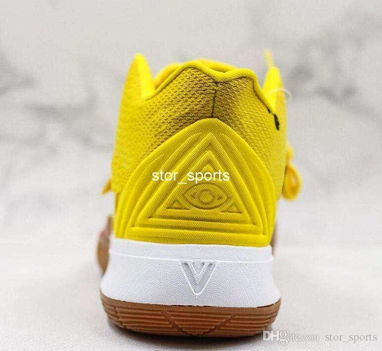 Großhandel Schwamm Baby Gelb Nike Kyrie 5 Sponge Bob Irvings 5 Basketball Schuhe Atmungsaktive Strickware Mid Designer Sportschuhe Top Qualität