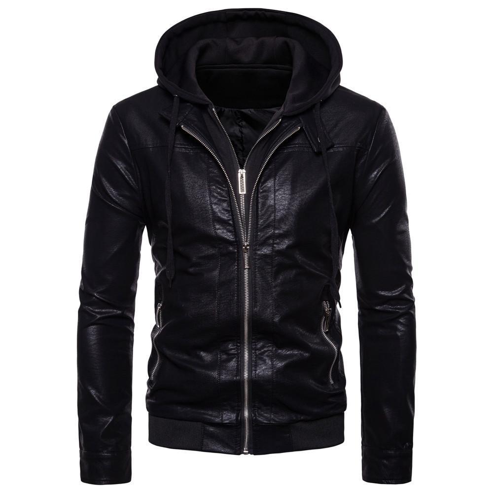 Automne 2018 New Style Mode Hommes Casual Ouma Mock deux pièces capuche Biker manteau en cuir Veste