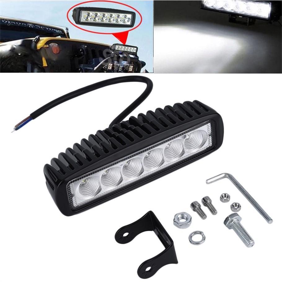 Inç 18 W LED İş Işık Bar Lambası Sürüş Kamyon Römork Motosiklet SUV ATV OffRoad Araba için 12 v 24 v Sel Nokta Ücretsiz Kargo