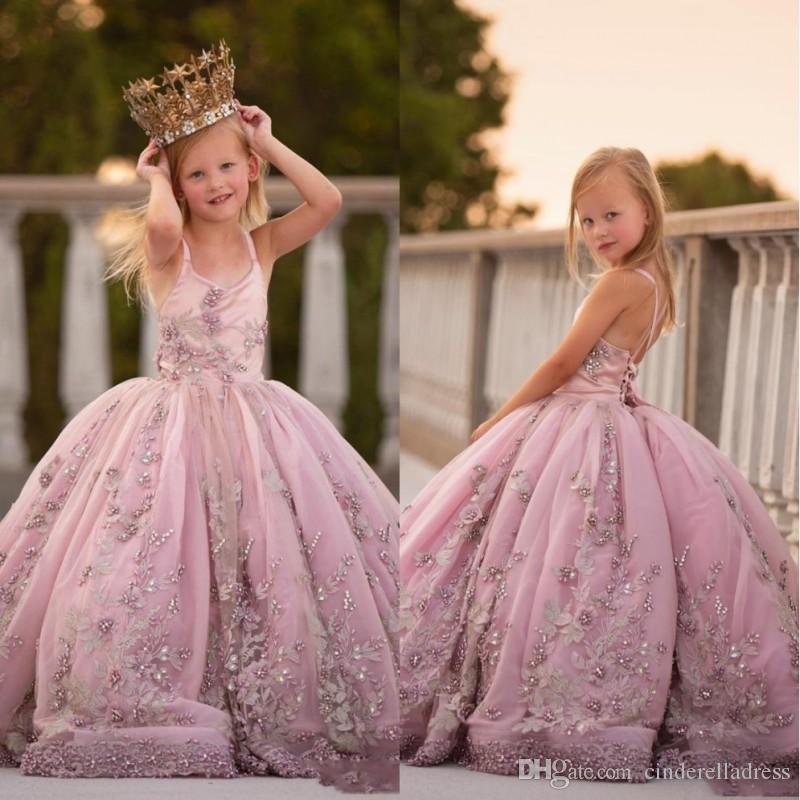 2020 Princesa Spaghetti Strap apliques de contas Meninas Pageant Vestidos aniversário Lace up Back Pearls bola Vestido de Flor Meninas Vestidos