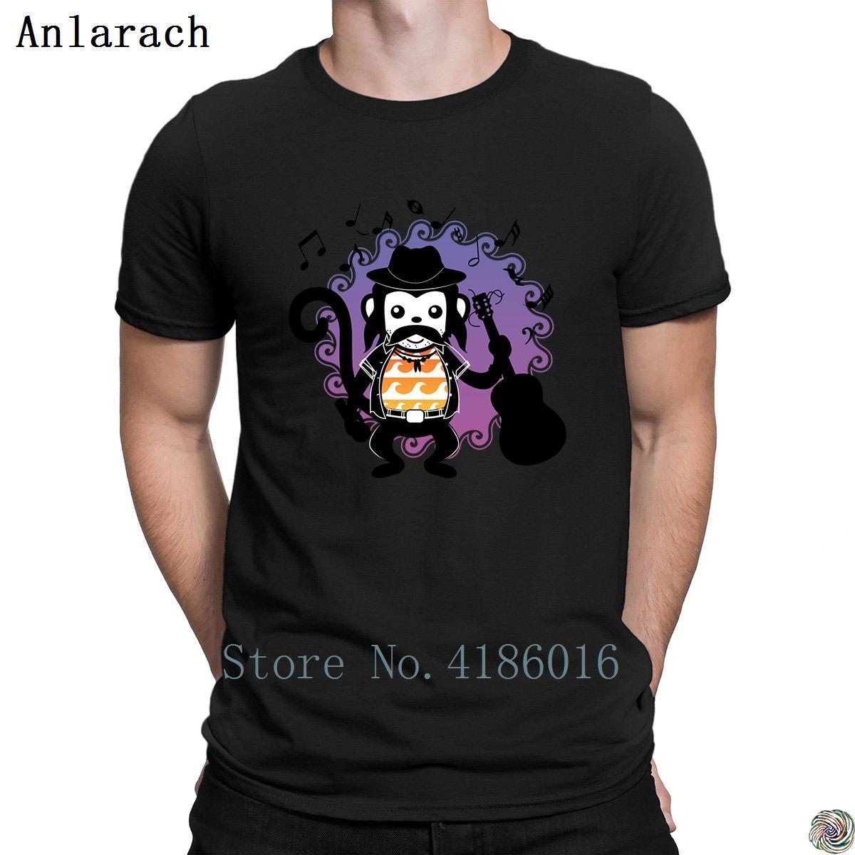 bigode engraçado macaco tshirts músico guitarrista do pescoço de grupo criativa HipHop Tops camisa de t para homens louco Primavera do sexo masculino mais novo
