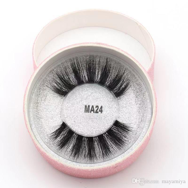 24 Styles 3D Faux Mink Eyelashes False Mink Eyelashes 3D Silk Protein Lashes 100% Handmade Natural Fake Eye Lashes with Pink Gift Box MA24