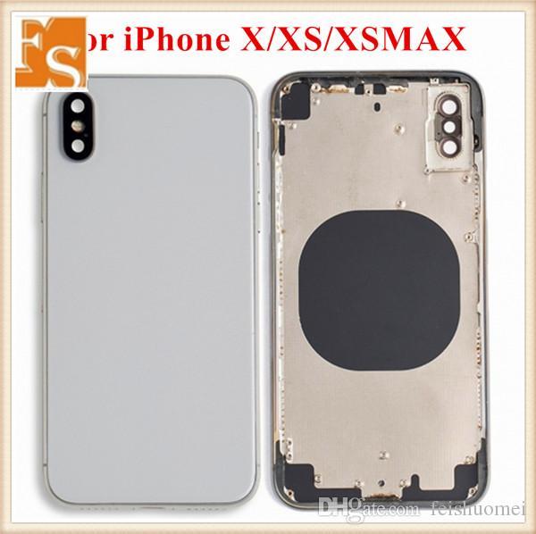 ل iPhone XS XS ماكس الغطاء الخلفي + الإطار الهيكل الأوسط + بطاقة SIM كامل باب الإسكان حالة الجمعية