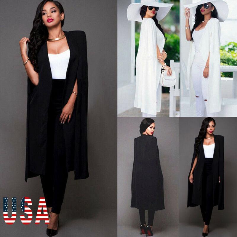 2020 HOT vente des nouvelles femmes en vrac longue Cape Blazer Cape Trench Cardigan manteau ouvert avant manches fendues Manteau MV66