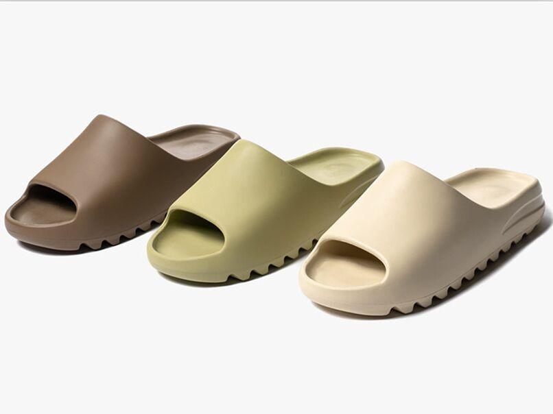 Kanye West Terre Brown Résine Diapo Chaussons Os Désert Sable Noir Slides Designer Fashion Sandal Plage Hommes Femmes Sandales Chaussures avec la boîte