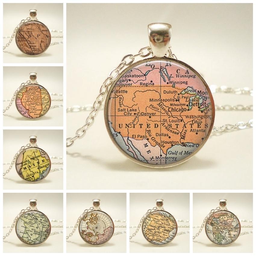 New Globe Dome Collana Terra Mappa del mondo Pendente Catena di gioielli in vetro Collana vintage fatta a mano degli Stati Uniti